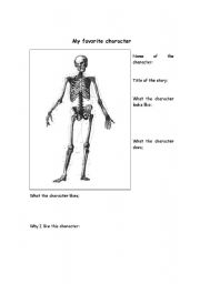 English Worksheets: My Favorite Character