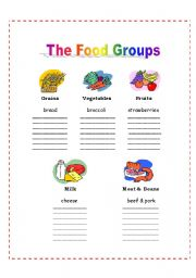 Worksheets Food Groups Worksheets english teaching worksheets food groups the 5 groups