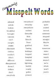 English Worksheets: Commonly misspelt words
