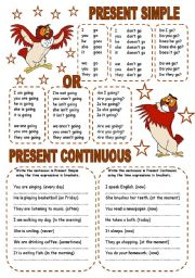 English Worksheet: PRESENT SIMPLE OR PRESENT CONTINUOUS (2) (2 PAGES)