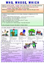 English Worksheets: who, whose, which