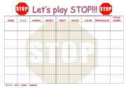 English Worksheets: LET�S PLAY STOP!!!