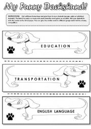 English Worksheets: MY FUNNY DACHSHUND! -  FUN SPELLING AND  VOCABULARY ACTIVITY FOR KIDS !!!! EDITABLE!!!!