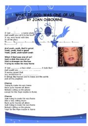 English Worksheet: What if god was one of us song by joan osbourne: conditional