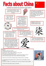 english worksheet facts about china. Black Bedroom Furniture Sets. Home Design Ideas