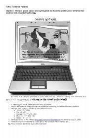 English Worksheet: Activity on Sentence Patterns