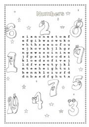 Numbers wordsearch
