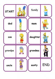 English Worksheets: family dominoes