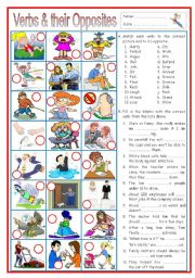 English Worksheet: Verbs and their Opposites 3 (with sentences)