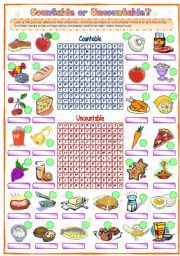 English Worksheet: Countable or Uncountable (1 of 2)
