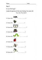 English Worksheets: Bugs4
