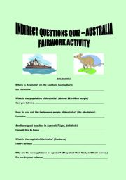 English Worksheets: Indirect questions - quiz  on Australia  - pairwork activity