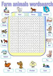 English Worksheet: Farm animals wordsearch
