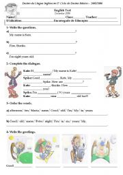 English Worksheets: test on greetings, numbers and colours