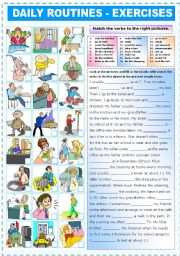 English Worksheets: DAILY ROUTINES - EXERCISES (PRESENT SIMPLE)