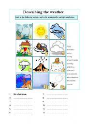 describing the weather elementary students esl worksheet by chrissie w. Black Bedroom Furniture Sets. Home Design Ideas