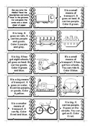 English Worksheet: Transport riddles / domino (14  means of transport)