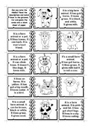 English Worksheet: Farm Animals Riddles matching / domino (2 pages -14 animals)