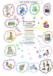 English worksheet: daily routines vocabulary