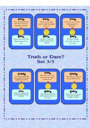 English Worksheet: Truth or Dare? - Set 3/5