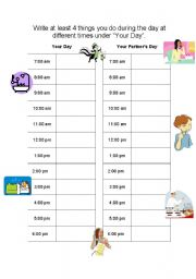 English Worksheets: Daily Activities Schedule