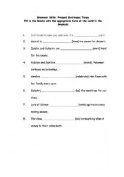 English worksheet: lower english practice