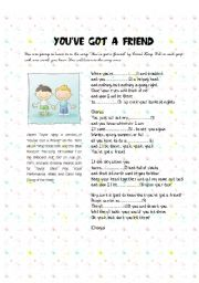 English Worksheet: You´ve got a friend by Carol King