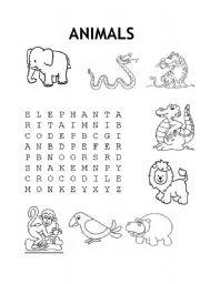 English Worksheets: animal wordsearch
