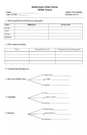 English Worksheets: social studies