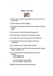 English Worksheet: Grammar Quiz (suitable for English in Use exam preparation FCE and CAE)