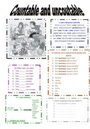 English Worksheets: Countables and Uncoutables nouns