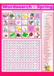 English Worksheets: WORDSEARCH - SPRING (2 - 8)
