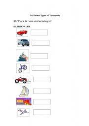 English worksheets: Types of Transports: Air, Water or Land