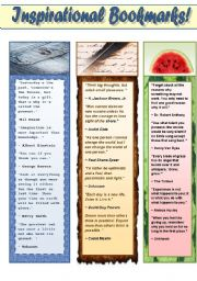 English Worksheet: INSPIRATIONAL BOOKMARKS FOR ADULTS! (PART 2 OF BOOKMARKS FOR ADUILTS) 2 pages