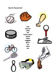 english worksheets sports equipment. Black Bedroom Furniture Sets. Home Design Ideas