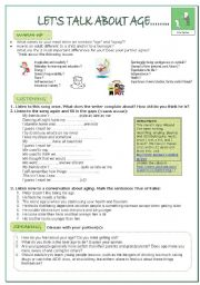 English Worksheets: LISTENING AND SPEAKING LESSON ON AGE for adults.KEY AND LINKS provided