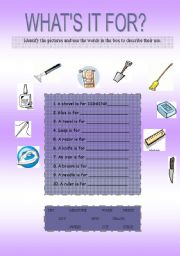 English Worksheets: what�s it for?