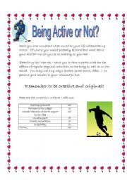 English Worksheets: Being active or not