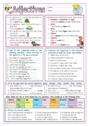 English Worksheet: Adjectives (Kinds, order, and comparison)