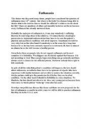English Worksheets: Euthanasia