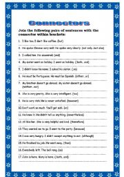 English Worksheets: JOINING SENTENCES USING CONNECTORS