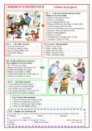 English Worksheet: Present continuous: actions in progress.