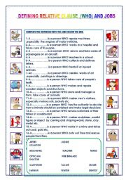 English Worksheet: RELATIVE (WHO)  AND JOBS