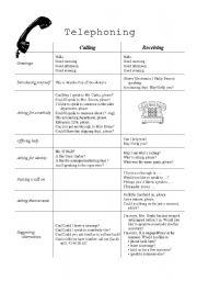 English Worksheet: Telephoning