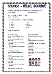Hello goodbye worksheets english worksheet hello goodbye sounds m4hsunfo
