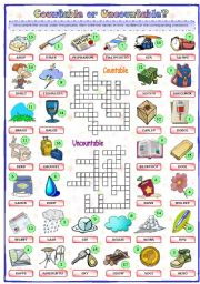 English Worksheet: Countable or Uncountable (2 of 2)