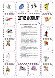 English Worksheet: clothes with Disney characters