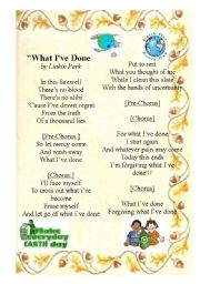 English Worksheet: What I�ve done - Earth Day