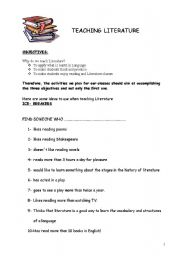 English Worksheets: Literature workshop!!