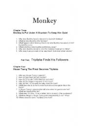 English Worksheets: Monkey: Journey to the West Chapters 3 and 4